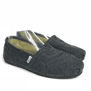 Toms Sz 8.5 Black Gray Canvas Sneaker
